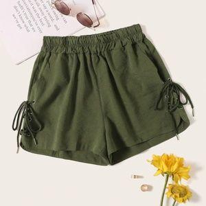 Lace-Up Elastic Waist Shorts